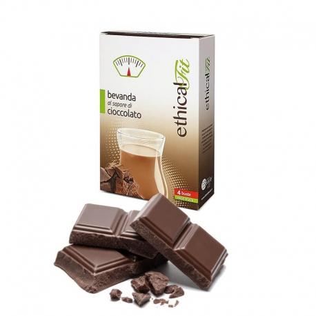 Bevanda al Cioccolato Amaro 4 Buste EthicalFit - Frullato Proteico per Dimagrire
